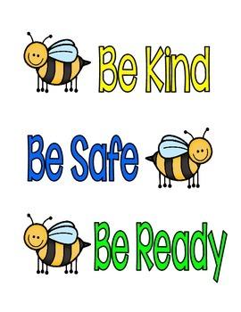 3 B's Behavior Poster - Bee Theme