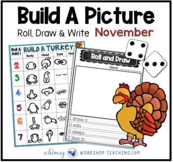 3 Build A Turkey Math and Literacy Game (from Roll Draw Write Full Year Bundle)