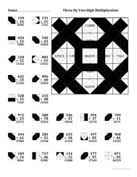 3 by 2 digit multiplication color worksheet by aric thomas tpt. Black Bedroom Furniture Sets. Home Design Ideas