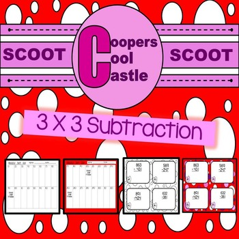 """3 By 3 Subtraction Task Cards """"Valentines Day"""""""
