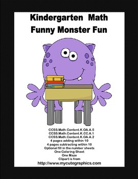 Counting, Adding, and  Subtracting-Kindergarten Math -Funny Monsters-3 CCSS's