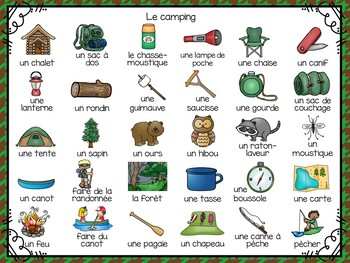 3 Camping Themed Vocabulary Games in French