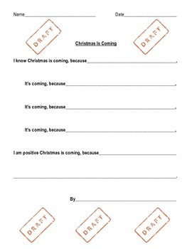 3 Christmas Poetry Templates With Draft and Good Copy Pages