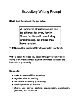 3 Christmas-Themed Expository Writing Prompts (STAAR/TEKS) Set A 3rd, 4th, 5th