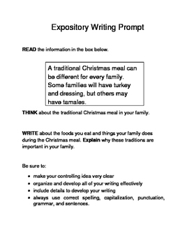 3 Christmas-Themed Expository Writing Prompts (STAAR/TEKS) Set A 6th & 7th Grade