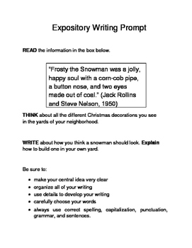 3 Christmas-Themed Expository Writing Prompts (STAAR/TEKS) Set C 3rd, 4th, 5th