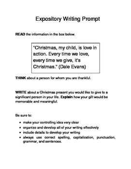 3 Christmas-Themed Expository Writing Prompts (STAAR/TEKS) Set C 6th & 7th