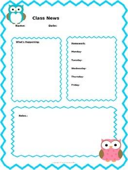 4 Editable Classroom Newsletter Templates Completed (Zebra, Owl, Blue Chevron)