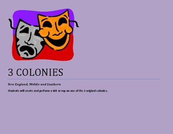 3 Colonies:  New England, Middle & Southern Colonies