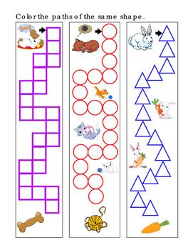 3 Color Path Shape Square Circle Triangle Puppy Kitty Bunny Fine Motor Fun Stuff