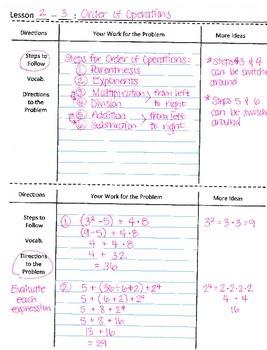3 Column Notes Math Graphic Organizer