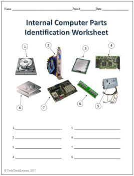 3 Computer Parts Labeling Worksheets Activity