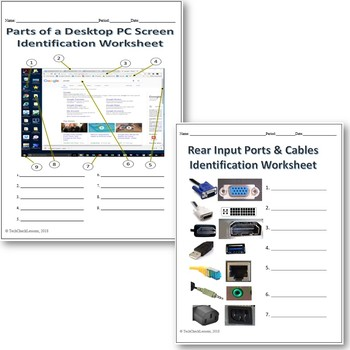 4 Computer Parts Labeling Worksheets Activity