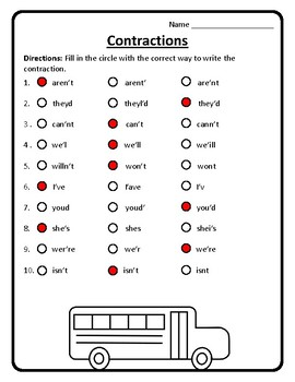 Correct Contractions Worksheet Contractions Practice Contractions #3