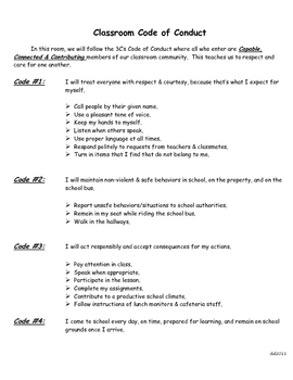 3 C's Classroom Code of Conduct