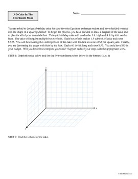 3-D Cake In The Coordinate Plane