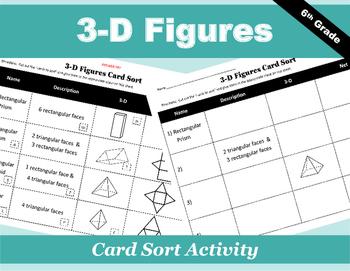 3-D Figures Card Sort Activity