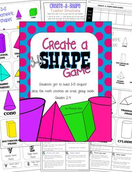3 D Geometrical Shapes Game Math Centers or Small Group
