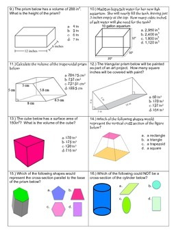 3-D Geometry Quiz~ 16 multiple choice questions
