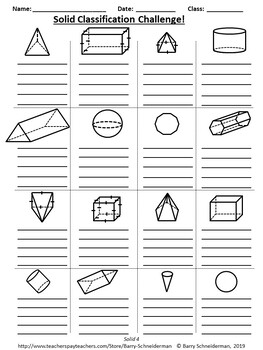 3-D Geometry Unit: Prism Volume, Prism and Pyramid Surface Area, Classification
