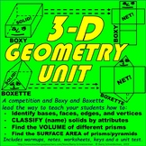 3-D Geometry Unit: Prism Volume, Prism and Pyramid Surface