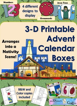 graphic relating to Printable Advent Calendar titled 3-D Printable Arrival Calendar Packing containers