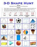 3-D Shape Hunt - A 2-player game to identify three dimensional shapes