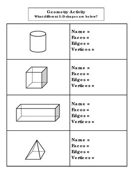 3-D Shape Identification & Characteristics With Shapes