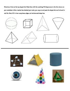 3-D Shape Matching Worksheet