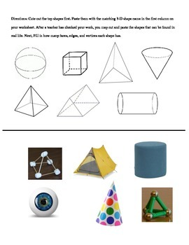 3-D Shape Matching Worksheet