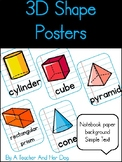 3-D Shape Posters with Notebook Paper Backgrounds