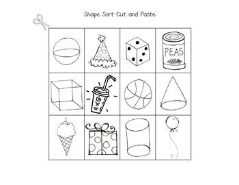 3 d shape sort cut and paste by samantha halbert tpt. Black Bedroom Furniture Sets. Home Design Ideas