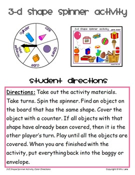 3-D Shape Spinner Activity