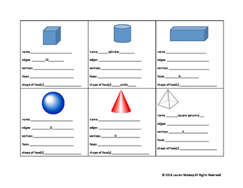 3-D Shape Worksheet