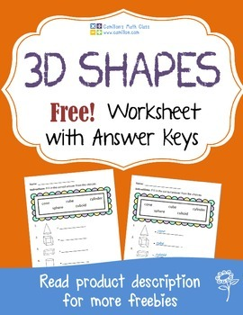 Free 3-D Shapes Worksheets with Answer Keys
