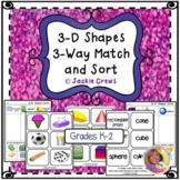 3-D Shapes 3-Way Match and Sort Math Center