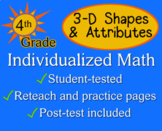 3-D Shapes & Attributes, 4th grade - Individualized Math - worksheets