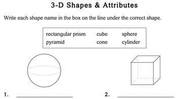 3-D Shapes & Attributes, 2nd grade - Individualized Math - worksheets