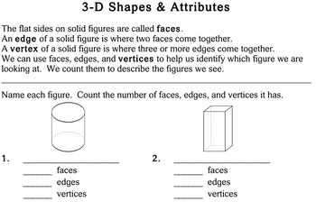 3-D Shapes & Attributes, third grade - Individualized Math - worksheets