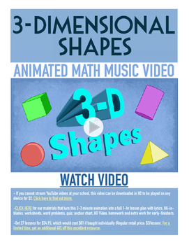 3-D Shapes | FREE Printable Poster, Worksheet & Fun Video | 1st-3rd Grade