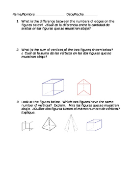 Math 3-D Shapes Geometric Figures in English & Spanish Bilingual