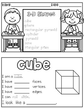 graphic about Shape Books Printable called 3-D Form Booklets