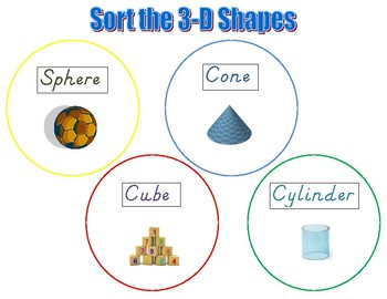 3-D Shapes Mat with Shapes for Sorting