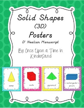 3-D Shapes Posters in D' Nealian Manuscript