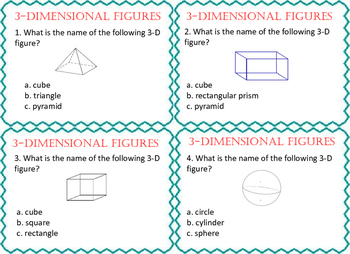 3-D Shapes STAAR Task Cards