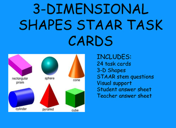 3-D Shapes STAAR Task Cards