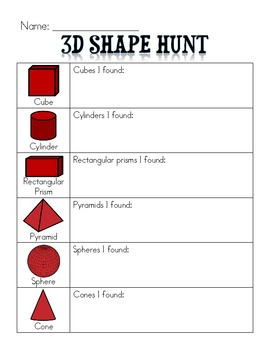 3-D Shapes Scavenger Hunt