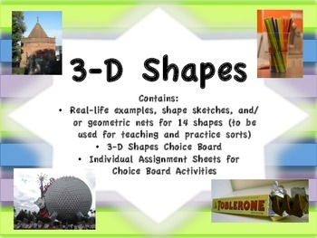 3-D Shapes Sort and Choice Board