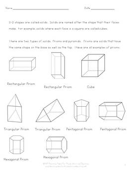 3-D Shapes:  Understanding and Identifying Solid Prisms and Pyramids