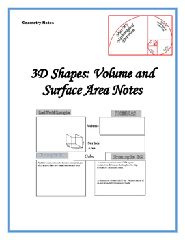3-D Shapes: Volume and Surface Area Notes